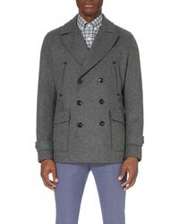 Hardy Amies | Gray Double-breasted Wool-blend Peacoat for Men | Lyst