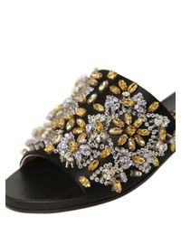 Rochas | Black Satin and Leather Rhinestone Sliders | Lyst