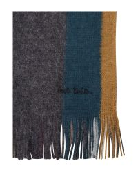 Paul Smith - Gray Reverse Stripe Scarf for Men - Lyst
