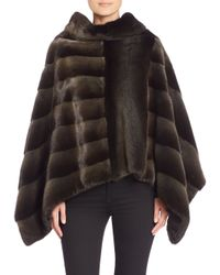 Saks Fifth Avenue - Green Cowlneck Diagonal Mink Fur Poncho - Lyst