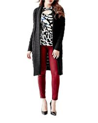 Guess | Black Long, Textural Shawl-collared Cardigan | Lyst