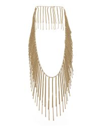Fallon | Metallic Classique Fringe Necklace Gold | Lyst