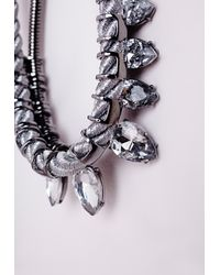 Missguided | Metallic Rope Detail Crystal Drop Necklace Silver | Lyst