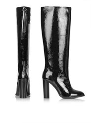 TOPSHOP - Black Birch Patent Pull-on Boots - Lyst