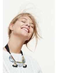Violeta by Mango - Black Stone Pendant Necklace - Lyst