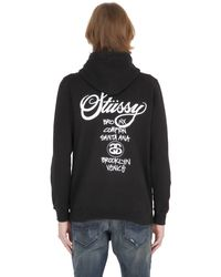 Stussy | Black Hooded Zip-up Cotton Blend Sweatshirt | Lyst
