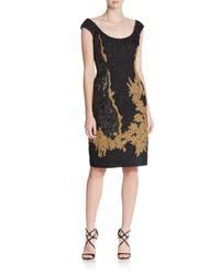 ESCADA - Black Metallic Embroidered Dress - Lyst