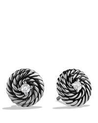 David Yurman - Metallic Cable Coil Earrings With Diamonds - Lyst