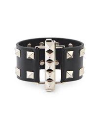 Valentino | Rockstud Medium Black Leather Cuff | Lyst