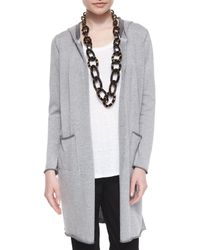 Eileen Fisher - Gray Hooded Organic Cotton Long Cardigan - Lyst