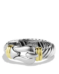 David Yurman Metallic Cable Buckle Bracelet With Gold