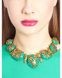 Oscar de la Renta | Metallic Jade Resin And Russian Gold Filigree Necklace | Lyst