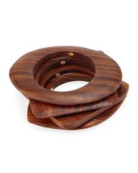 Kenneth Jay Lane - Brown Mixed-shape Wooden Bangles - Lyst
