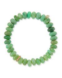 Sydney Evan | Green Pave Rondelle Chrysoprase Bead Bracelet with Diamonds | Lyst