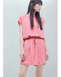 Mango | Pink Elastic Waist Dress | Lyst