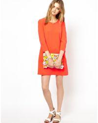 Mademoiselle Tara - Orange Crepe Shift Dress In Tangerine - Lyst