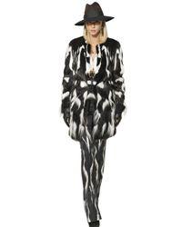 Roberto Cavalli - White Patchwork Fur Coat - Lyst