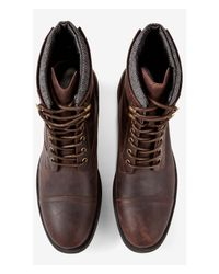 Express Brown Padded Collar Lace-up Boot for men