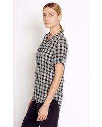 Equipment | Black Short Sleeve Slim Signature Silk Shirt | Lyst