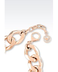 Emporio Armani | Metallic Bracelet In Rose Gold-plated Steel And Crystals | Lyst