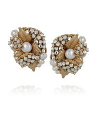 Bijoux Heart Metallic Goldplated Swarovski Crystal and Pearl Clip Earrings