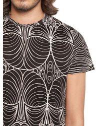 John Richmond Black Printed Cotton Jersey T-shirt for men