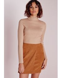Missguided - Natural Long Sleeve Turtle Neck Knitted Crop Jumper Camel - Lyst