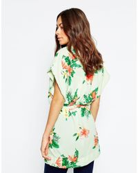 Vila - Green Floral Belted Kimono - Lyst