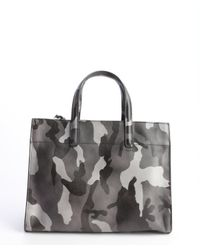 Prada - Gray Grey Military Saffiano Leather Convertible Small Tote - Lyst