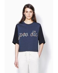 3.1 Phillip Lim - Blue Cropped Boxy Tee With Cdc Sleeves - Lyst