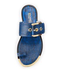 MICHAEL Michael Kors - Blue Calder Lizardembossed Buckle Sandal - Lyst