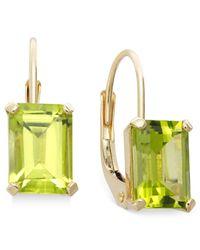 Macy's | Green 10k Gold Earrings, Emerald-cut Peridot Leverback Earrings (3/4 Ct. T.w.) | Lyst
