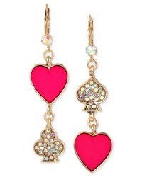 Betsey Johnson | Gold-tone Pink And Pavé Card Suit Double Drop Mismatch Earrings | Lyst