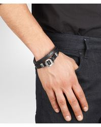 Bottega Veneta - Black Nero Intrecciato Oxidized Silver Cuir Bracelet for Men - Lyst