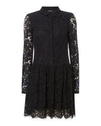 Vila Black Long-sleeved Lace Shift Dress