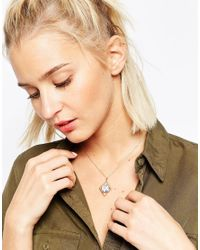 ASOS - Metallic Rose Gold Plated Sterling Silver Howlite Open Shaped Diamond Pendant Necklace - Lyst
