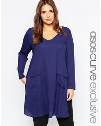 ASOS - Blue Curve Tunic With Deep V And Pocket Detail - Lyst