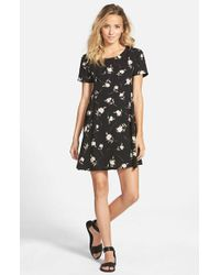 Lush | Black Print Short Sleeve Swing Dress | Lyst