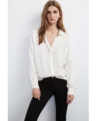 Velvet By Graham & Spencer - White Vara Satin Button-up Blouse - Lyst