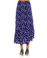 Stella McCartney Blue Leah Blossom-Print Skirt