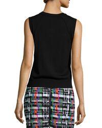 MILLY - Black Angled-Seam Knit Merino Shell - Lyst