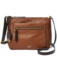 Fossil | Brown Vickery Leather Crossbody | Lyst