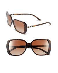 Burberry - Brown 'london Squared/check Block' 57mm Sunglasses - Dark Havana - Lyst