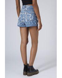 TOPSHOP Blue Womens Moto Bleach Spray Mom Shorts Mid Stone