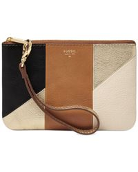 Fossil Multicolor Sydney Leather Patchwork Small Wristlet Pouch