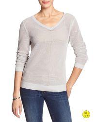 Banana Republic | Gray Factory Mesh-textured Sweater | Lyst