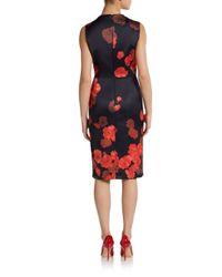 Giambattista Valli Red Silk Floralprint Sheath Dress