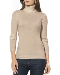 Lauren by Ralph Lauren | Natural Petite Silk-cotton Turtleneck Sweater | Lyst