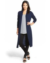 Nordstrom Collection Blue Open Front Cashmere Duster Cardigan