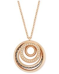 Swarovski | Metallic Rose Gold-tone Black And Clear Crystal Swirl Pendant Necklace | Lyst